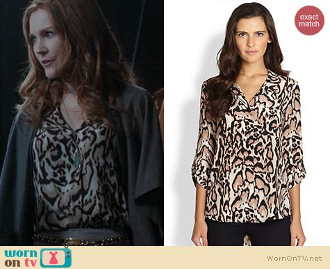 Scandal Fashion: Diane von Furstenberg Lorelei Leopard print blouse worn by Darby Stanchfield
