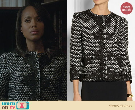 Fashion of Scandal: Docle & Gabbana Lace Applique Tweed Jacket worn by Kerry Washington