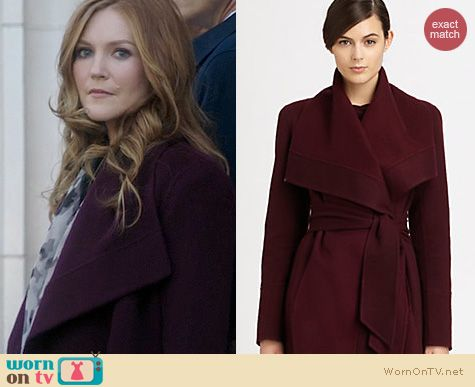 Scandal Fashion: Donna Karan Burgundy Draped Coat worn by Darby Stanchfield