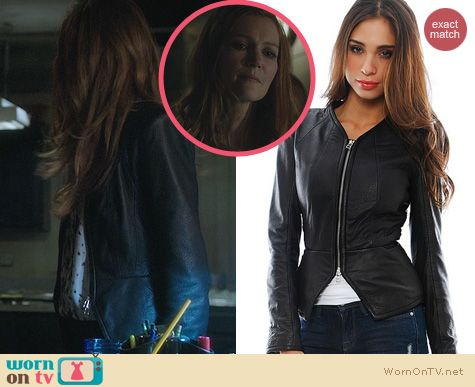 Fashion of Scandal: Faith Conexion Zipped Leather Jacket worn by Darby Stanchfield