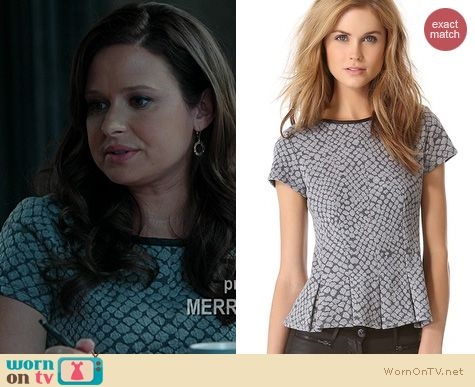 Scandal Fashion: Rebecca Taylor Pleated Croc Top worn by Katie Lowes