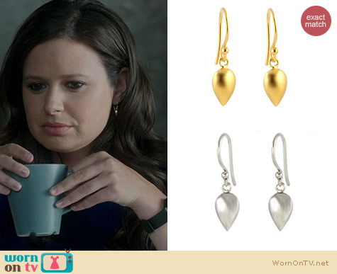 Scandal Jewelry: Peggy Li Metal Drop Teds Earrings worn by Katie Lowes