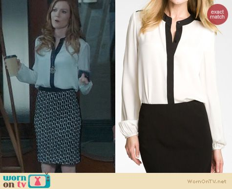 Scandal Style: Theory Gerine Blouse worn by Darby Stanchfield