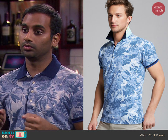 Scotch & Soda Floral Pique Polo worn by Aziz Ansari on Parks & Rec