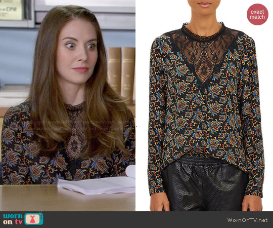 Sea Brocade-Print Lace Top by Sea worn by Alison Brie on Community