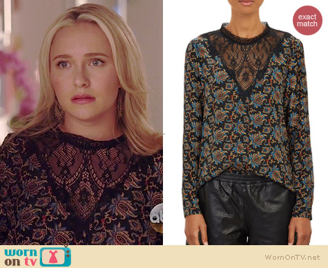 Sea Brocade-Print Lace Top worn by Hayden Panettiere on Nashville