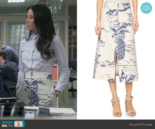 Sea Pineapple Zip Skirt worn by Lucy Liu on Elementary