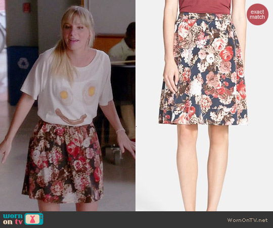 Search for Sanity Floral Midi Skirt worn by Heather Morris on Glee