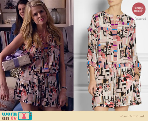 See by Chloe Geometric Printed Silk Romper worn by Sarah Wright Olsen on Marry Me