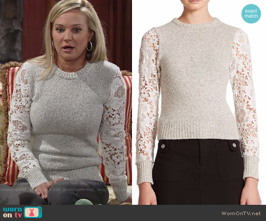 See by Chloe Lace Knit Sweater worn by Sharon Case on The Young & the Restless