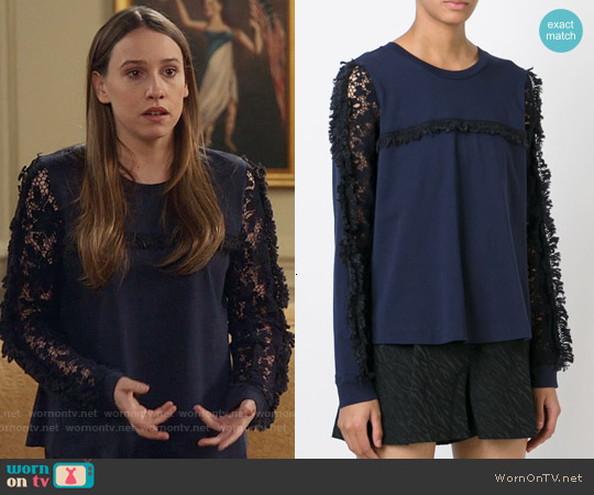See by Chloe Lace Sleeve Top worn by Sarah Sutherland on Veep