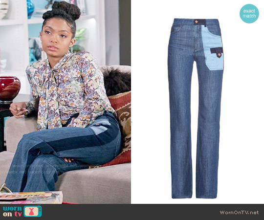 See by Chloe Patchwork Denim Wide-leg Jeans worn by Yara Shahidi on Blackish