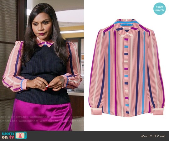 See by Chloé Printed Crepe de Chine Shirt worn by Mindy Kaling on The Mindy Project