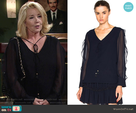 See by Chloe Sheer Sleeve Top worn by Melody Thomas-Scott on The Young & the Restless