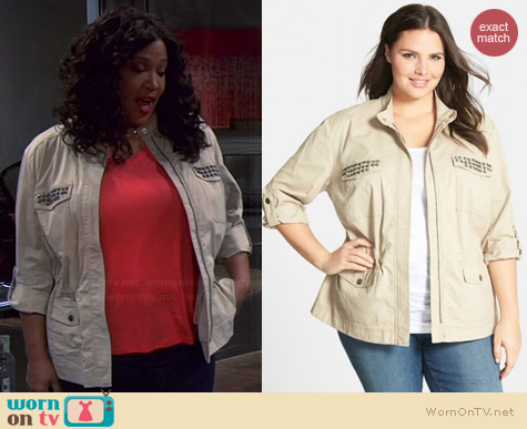 Sejour Megan Studded Roll Sleeve Jacket worn by Kym Whitley on Young & Hungry