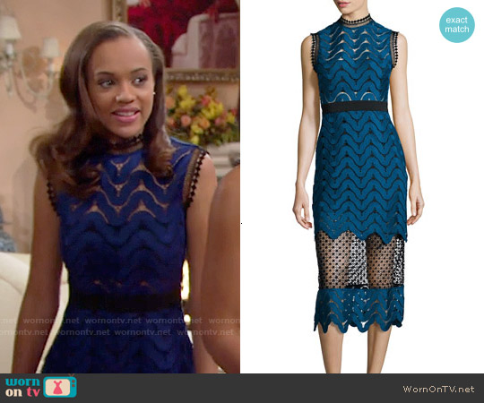 Self Portrait Scalloped Mixed-Lace Midi Dress worn by Reign Edwards on The Bold & the Beautiful