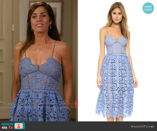 Self Portrait Azalea Dress in Blue worn by Ana Ortiz on Devious Maids