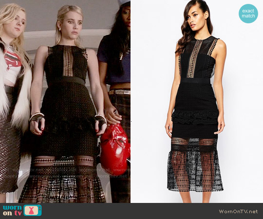 Self Portrait Frilled Column Dress worn by Emma Roberts on Scream Queens