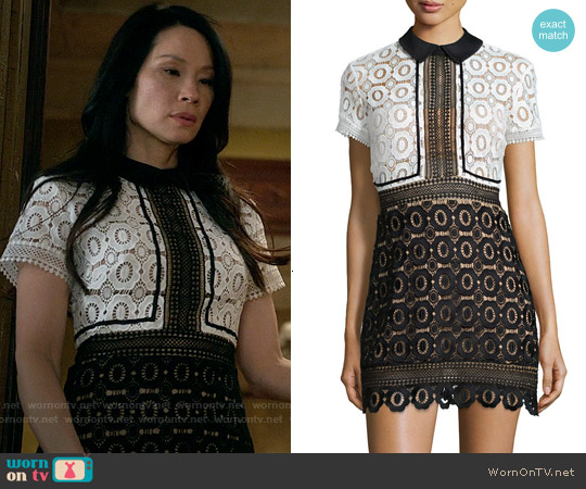 c63dc1a80181 WornOnTV  Joan s black and white lace dress on Elementary