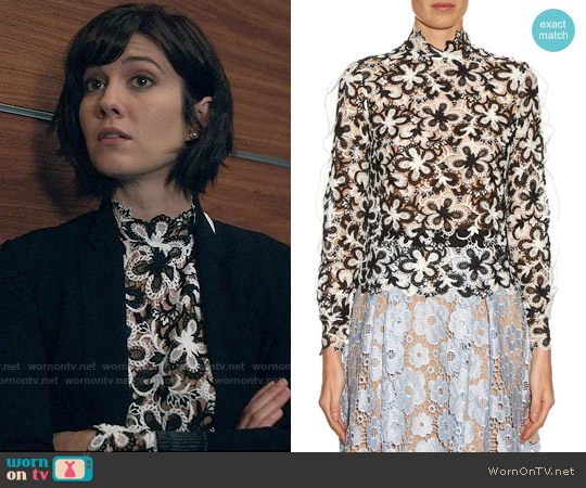 Self Portrait Line Floral Lace Top worn by Mary Elizabeth Winstead on BrainDead