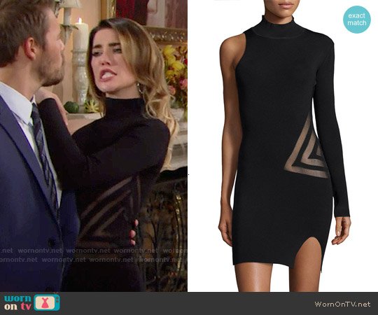 Self Portrait One-Sleeve Mesh-Trim Dress worn by Jacqueline MacInnes Wood on The Bold & the Beautiful