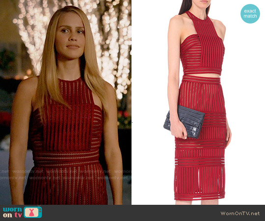 Self Portrait Striped-mesh cropped top and skirt worn by Claire Holt on The Originals