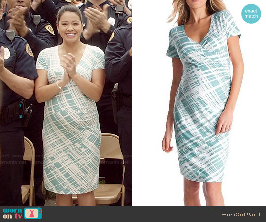 Seraphine Abella Ruched Faux Wrap Maternity Nursing Dress worn by Gina Rodriguez on Jane the Virgin