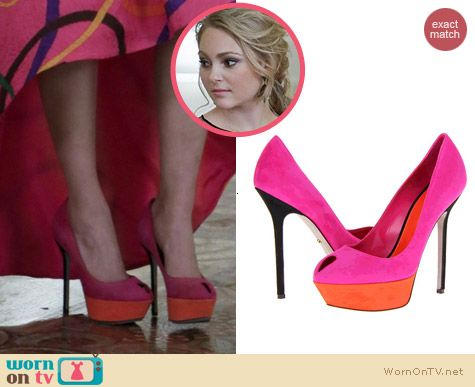 Sergio Rossi Two Tone Peep Toe Pumps worn by AnnaSophia Robb on The Carrie Diaries