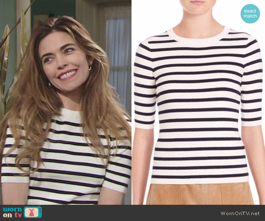 SET Striped Knit Top worn by Amelia Heinle on The Young & the Restless