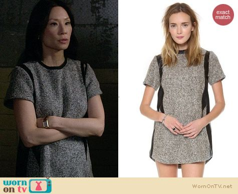 Shakuhachi leather and tweed shift dress worn by Lucy Liu on Elementary