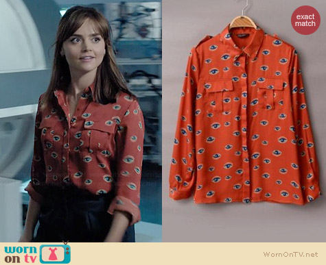 Shalex Eyes Shirt in Orange worn by Jenna Coleman on Doctor Who
