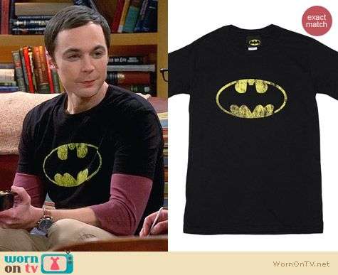 Black Batman T-Shirt worn by Jim Parsons on The Big Bang Theory
