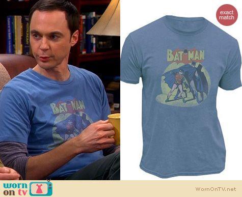 Sheldon Cooper's blue Batman Tshirt on The Big Bang Theory