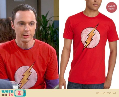 "57b74e6f6 WornOnTV: Sheldon's red ""The Flash"" tee on The Big Bang Theory 