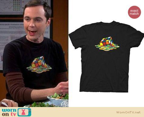 Sheldon's Tshirts on The Big Bang Theory: Black melting Rubix cube