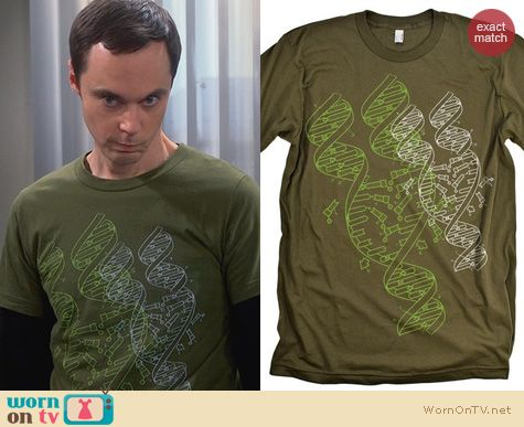 Sheldon's Shirts Babble Tees DNA Graphic Shirt worn by Jim Parsons