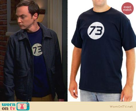 Sheldon's Shirts: Blue 73 Tshirt worn on The Big Bang Theory