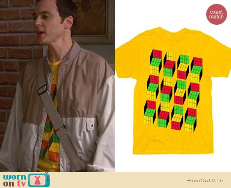 Sheldon's Shirts: Yellow Opti Blocks Tee worn on The Big Bang Theory