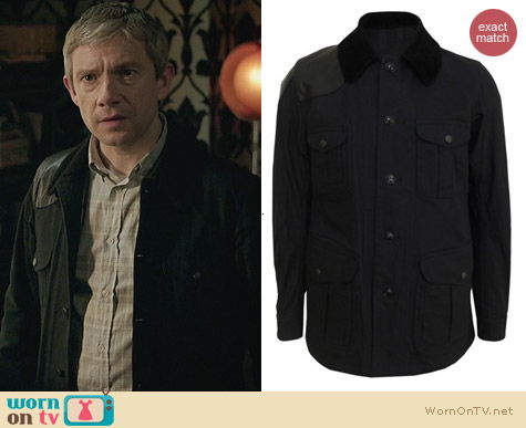 Sherlock Fashion: Haversack black shooting jacket worn by Martin Freeman