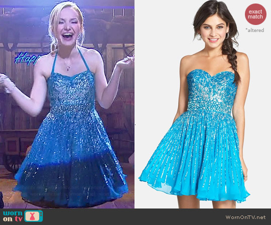 Sherri Hill Dress 8524 in Turquoise worn by Dove Cameron on Liv & Maddie