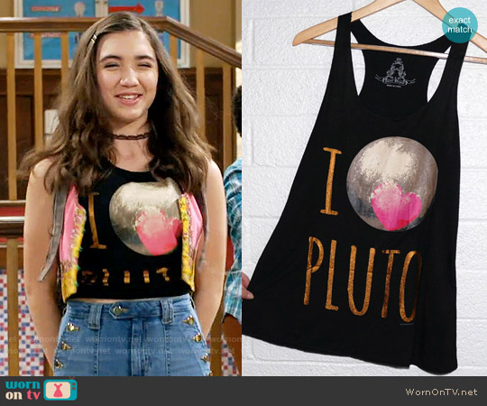 Shop Delfina I Love Pluto Racerback Tank worn by Rowan Blanchard on Girl Meets World