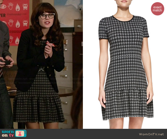Shoshanna Jenny Houndstooth Dress worn by Zooey Deschanel on New Girl