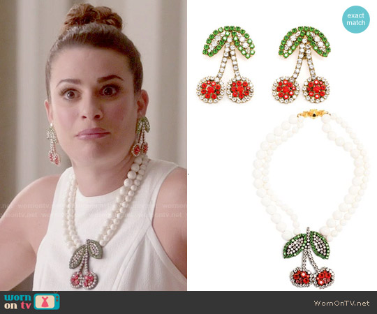 Shourouk Cherry Jewelry worn by Lea Michele on Scream Queens