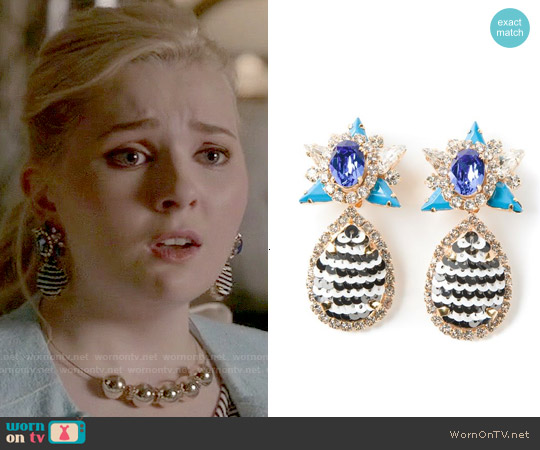 Shourouk Galaxy Clip On Earrings worn by Chanel #5 on Scream Queens
