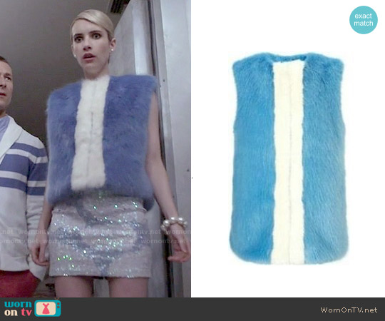 Shrimps Perry Fur Vest worn by Emma Roberts on Scream Queens