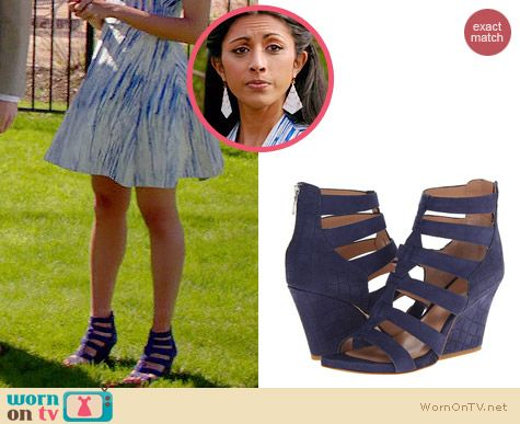 Sigerson Morrison Vernice Wedges in Ink Nubuk worn by Reshma Shetty on Royal Pains