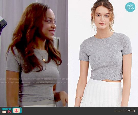 Silence + Noise Crossing Over Cropped Top worn by Nicole Avant on The Bold & the Beautiful