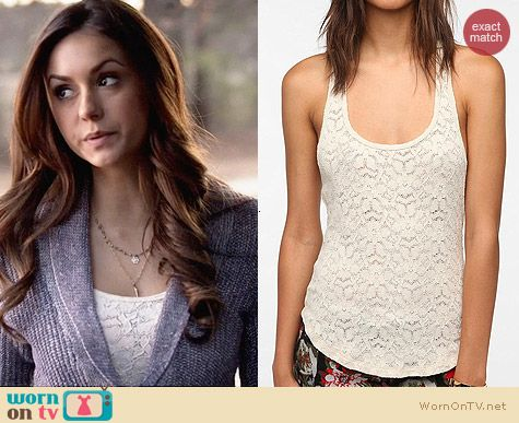 Silence & Noise Izzy Tank Top worn by Nina Dobrev on The Vampire Diaries