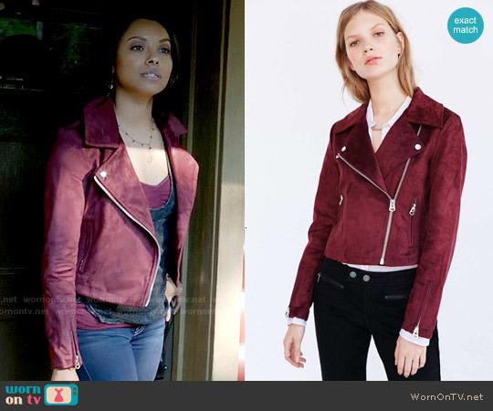 Silence + Noise Vegan Suede Biker Jacket worn by Kat Graham on The Vampire Diaries
