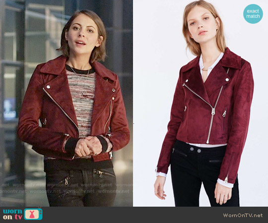 Silence + Noise Vegan Suede Biker Jacket worn by Willa Holland on Arrow